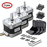 Nema 17 Stepper Motor, MYSWEETY 3 PCS Stepper Motor Bipolar 4-Lead 1.8 Deg 40N.cm Holding Torque 1.7A 42 Motor with Motor Mounting Bracket and M3 Screws for 3D Printer/CNC