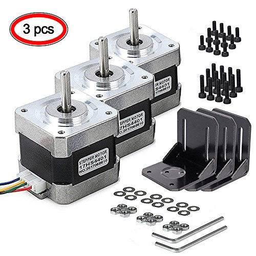 Nema 17 Stepper Motor, MYSWEETY 3 PCS Stepper Motor Bipolar 4-Lead 1.8 Deg 40N.cm Holding Torque 1.7A 42 Motor with Motor Mounting Bracket and M3 Screws for 3D Printer/CNC by MYSWEETY