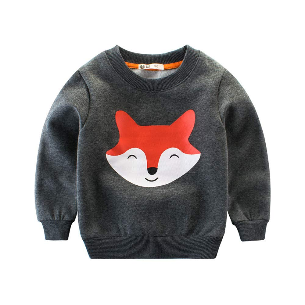 Zerototens Kids Sweatshirt,1-7 Years Old Toddler Infant Kids Cartoon Animals Pullover Sweatshirt Baby Boys Girls Long Sleeve Warm Cotton T-Shirt Tops Autumn Winter Basic Tee