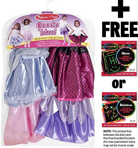 Hot Rocker Costumes (Goodie Tutus Role Play Costume+ Melissa & Doug Scratch Art Mini-Pad Bundle [85465])