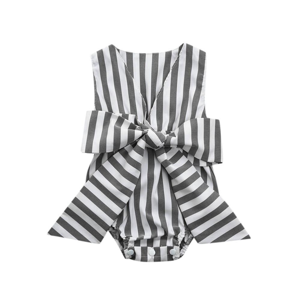 8c648e964ada Amazon.com  JPOQW Baby Kids Girls Striped Bow Sleeveless Jumpsuit Romper  Playsuit  Clothing