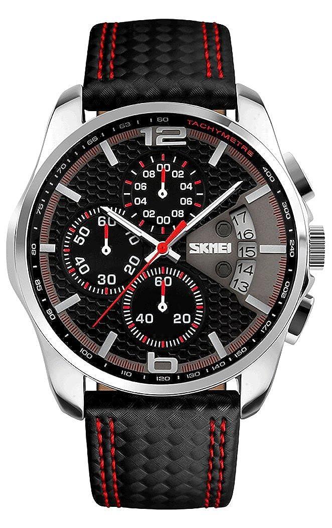 84456d10dc76 Pulsera de cuero SKMEI de deporte para hombre cuarzo analógico cronógrafo  calendario 5ATM 9106 impermeable de colour negro y rojo  Amazon.es  Relojes