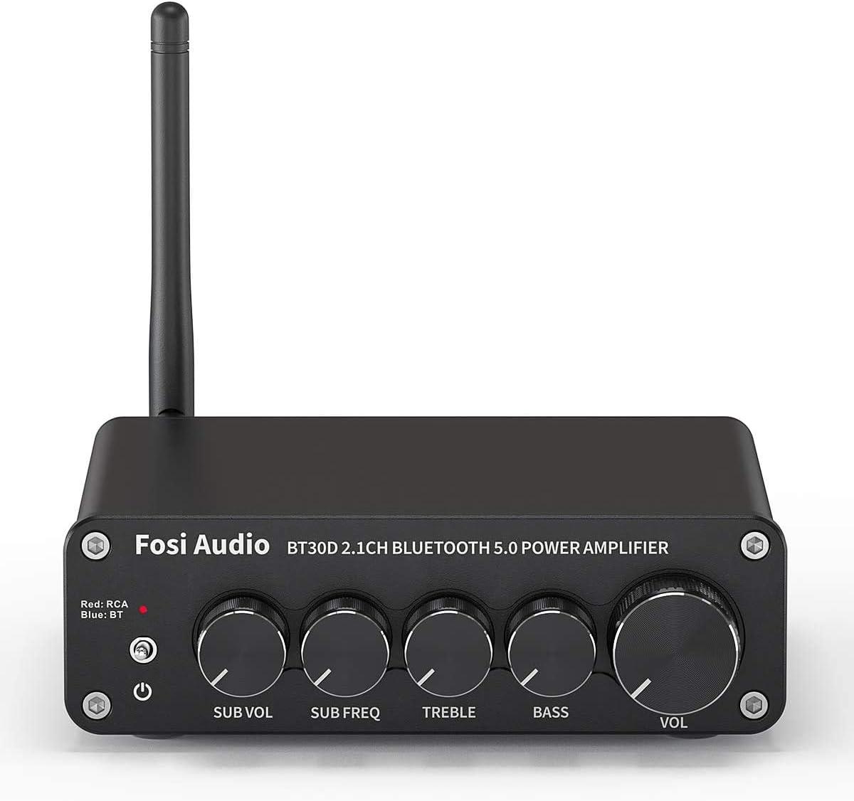 Fosi Audio BT30D Bluetooth 5.0 Amplifier Stereo Audio 2.1 Channel Receiver Amplifier 50 Watt x2+100 Watt Mini Hi-Fi Class D Integrated Amp for Home Outdoor Passive Speakers/Subwoofer Powered Subwoofer