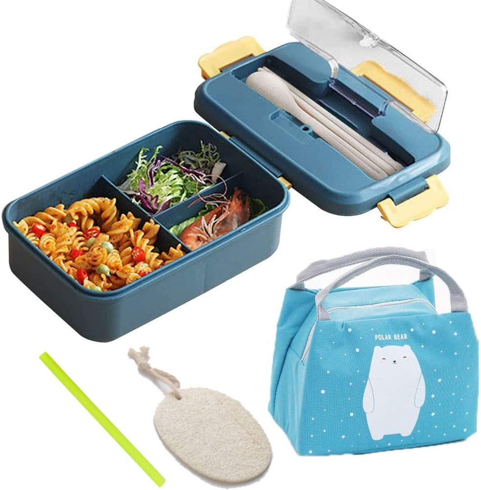 Small Bento Lunch Box with Cooler Bag, Wheat Straw Lunch Box, Portable Leak Proof Bento container, Divided Lunch Box Container for Kids Teen girls for School Meal