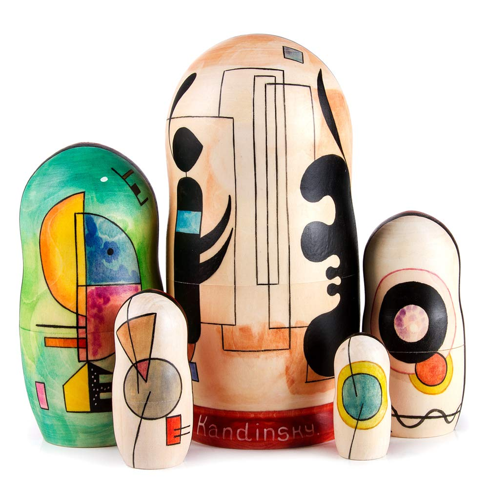 Books.And.More Set of 5 Kandinsky Composition 5 Nesting Doll Matryoshka 7 Inches by Books.And.More