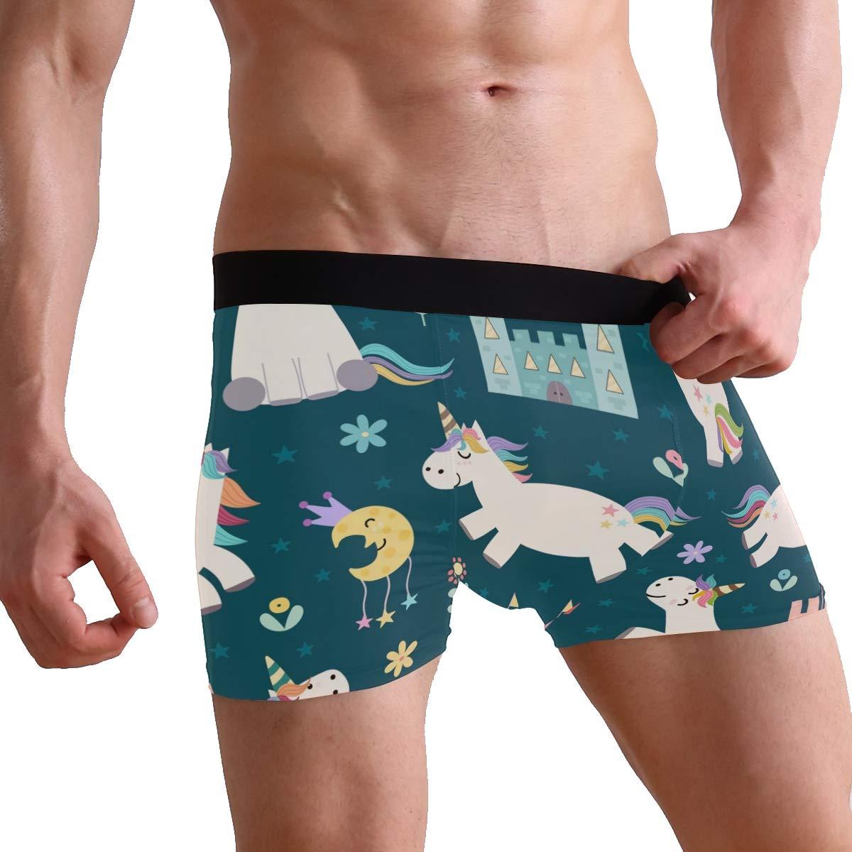 Men Boxer Briefs Polyester Underwear Men 2 Pack Boxer Briefs with Cute Little Unicorn Pattern