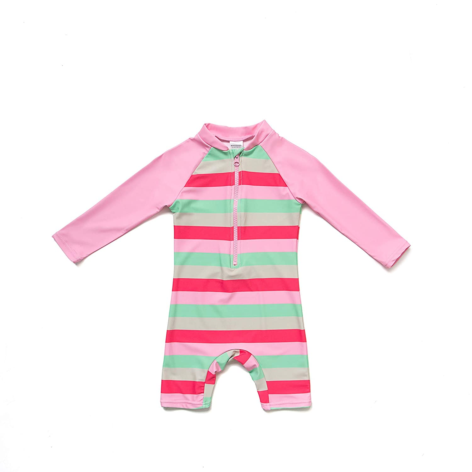 Sun Protection One Pieces Long Sleeves Swimwear with Bucket Hat Pink Pattern,3-6Months Baby Girls Sunsuit UPF 50