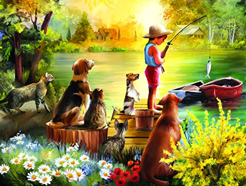 Waiting for Dinner 300 Piece Jigsaw Puzzle by SunsOut - fishing theme