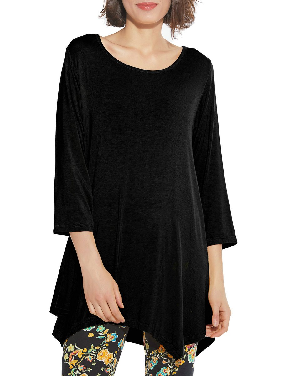 BELAROI Women 3/4 Sleeve Swing Tunic Tops Plus Size T Shirt (3X, Black)
