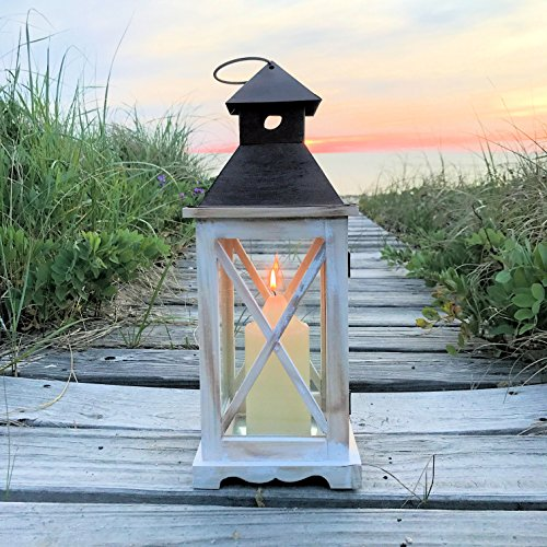 The French Country Chinoiserie Lanterns, Set of 2, Vintage Cream Stained Wood, Rust Metal Top, Galvanized Metal Floor, 2 Ft and 16 1/2 Inches, By Whole House Worlds
