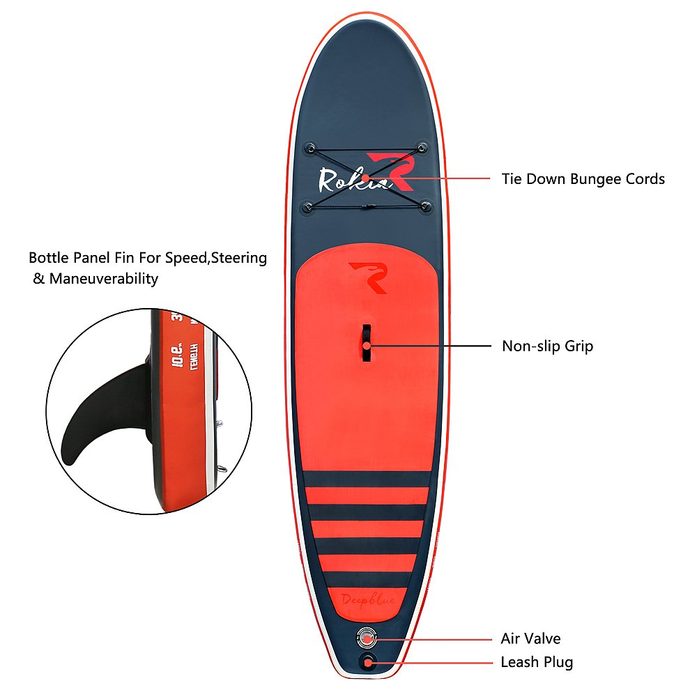 Rokia R 10'6'' Inflatable SUP Stand Up Paddle Board (6'' Thick) iSUP for Fitness, Yoga, Fishing on Flat Water, Orange by Rokia R (Image #3)