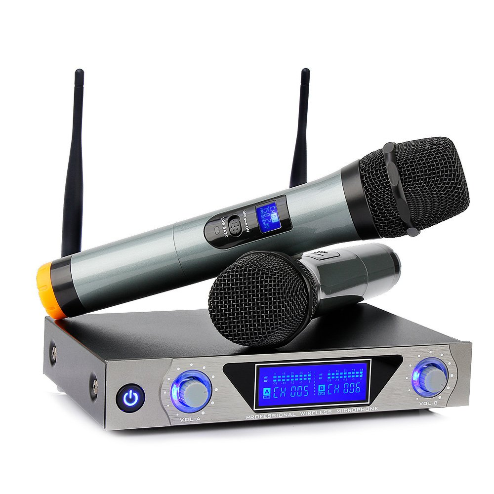 ARCHEER UHF Karaoke Wireless Microphone System with LCD Display, Dual Channel Handheld Microphone Professional Karaoke Singing Machine for Church, Conference, Home KTV Pary,Outdoor Wedding Archeer-UHF