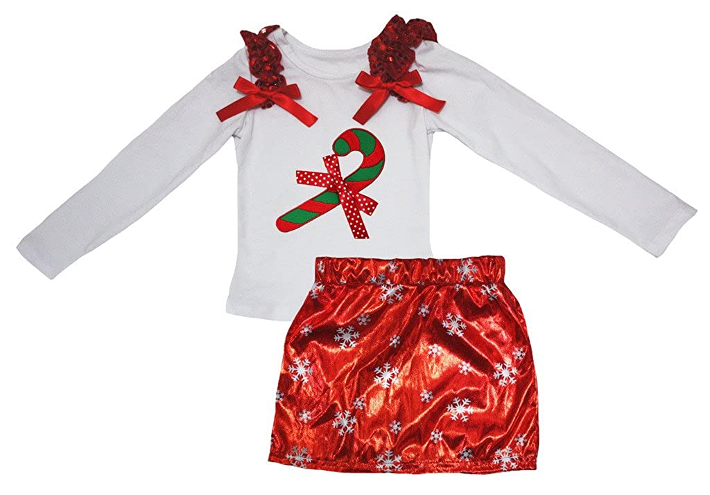 Petitebella Xmas Stick White L//s Shirt Snowflake Red Bling Skirt Set 1-8y