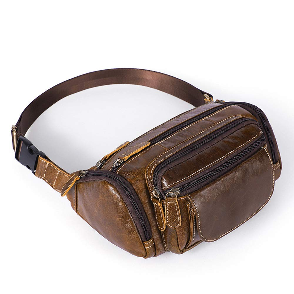 Easyflower Cross Body Messenger Bag Mens Leather Waist Bag Chest Bag Outdoor Sports Shoulder Messenger Backpack Oil Coffee