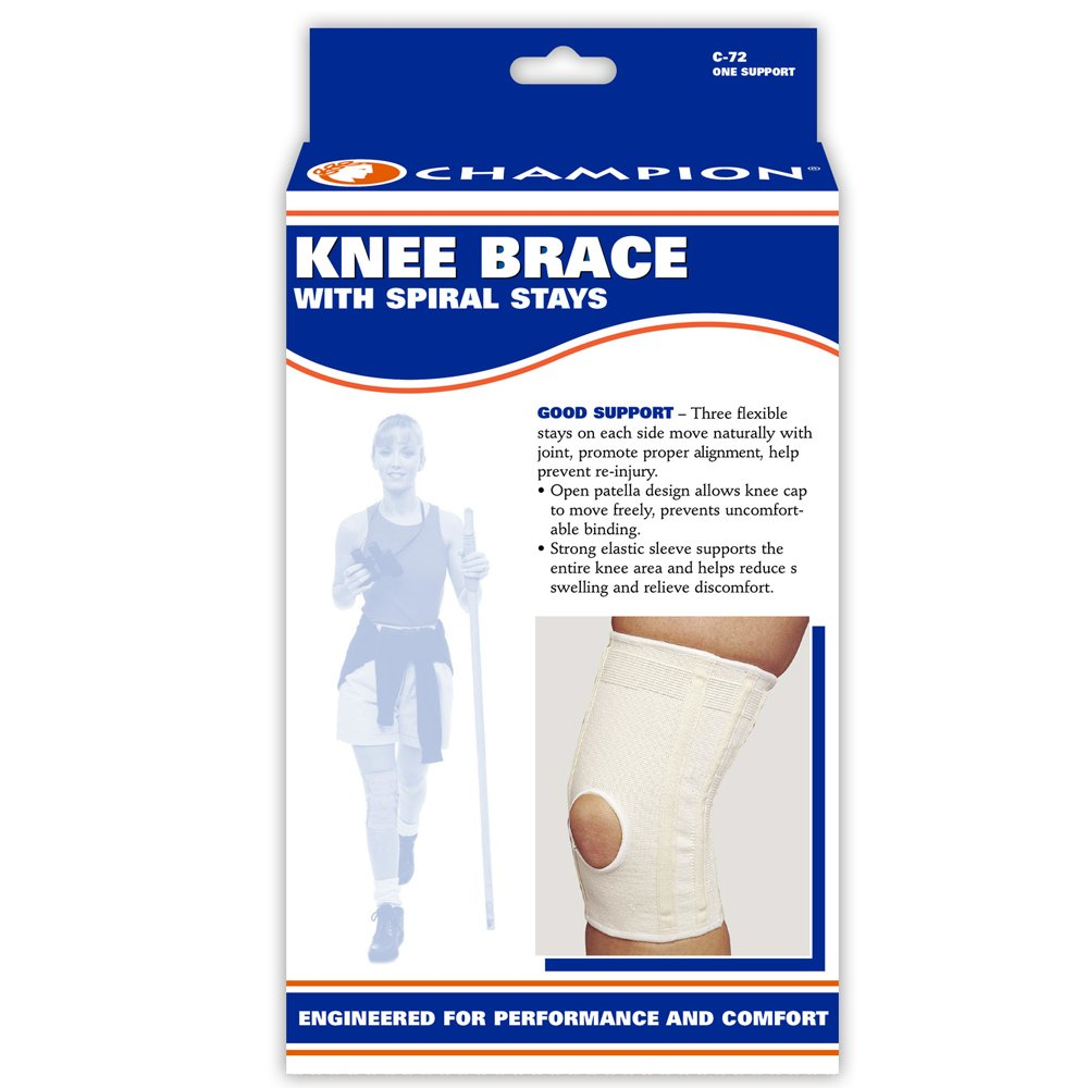 e5279314bf Amazon.com: CHAMPION Knee Brace Flexible Stays Knit Elastic, White,  X-Large: Health & Personal Care