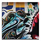 JP London 2in Thick Premium Huge Gallery Wrap Heavyweight Canvas Wall Art Grafitti Garage Urban Punk Door 50in CNVSQL0085