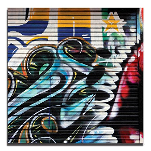 JP London 2in Thick Premium Huge Gallery Wrap Heavyweight Canvas Wall Art Grafitti Garage Urban Punk Door 50in CNVSQL0085 by JP London