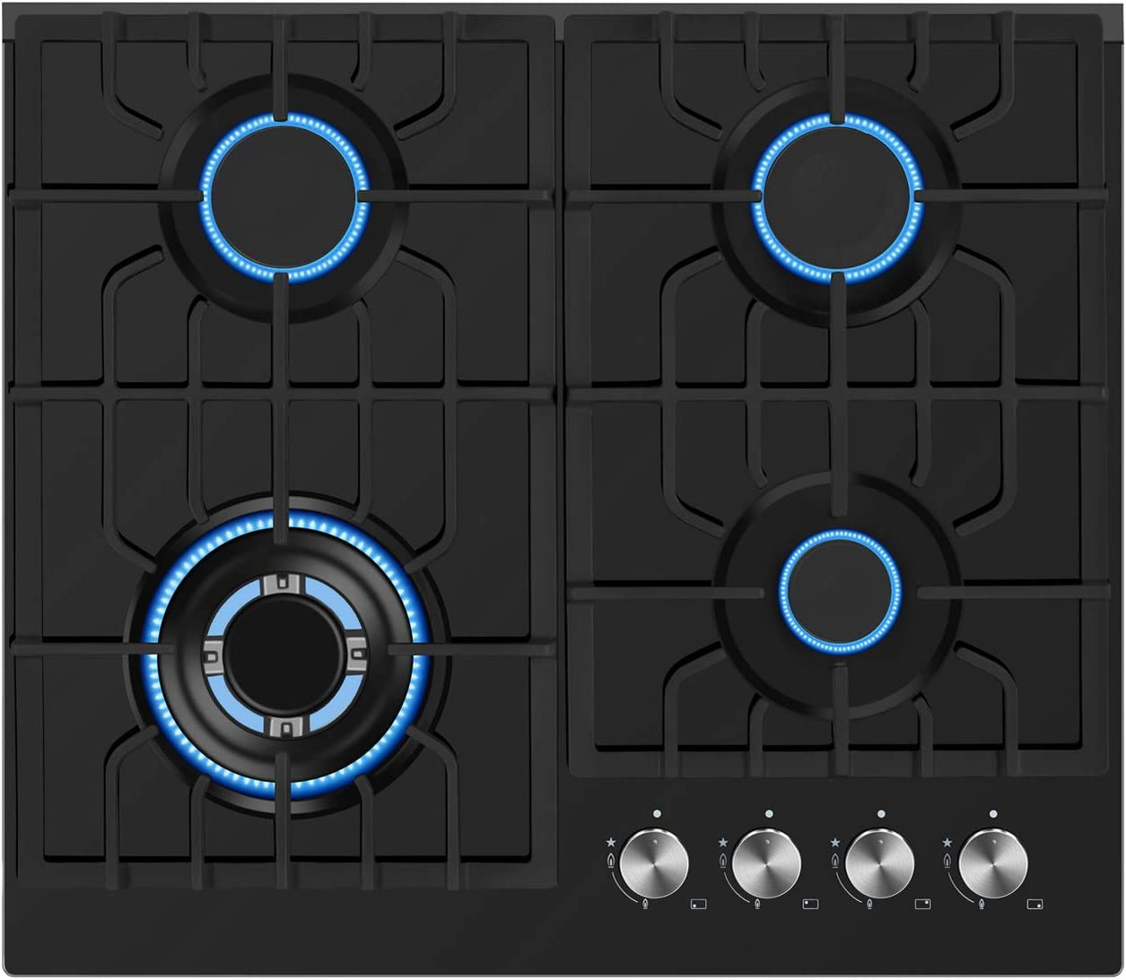 "Empava 24"" Gas Cooktop in Black Tempered Glass with 4 Burners 24XGC28"