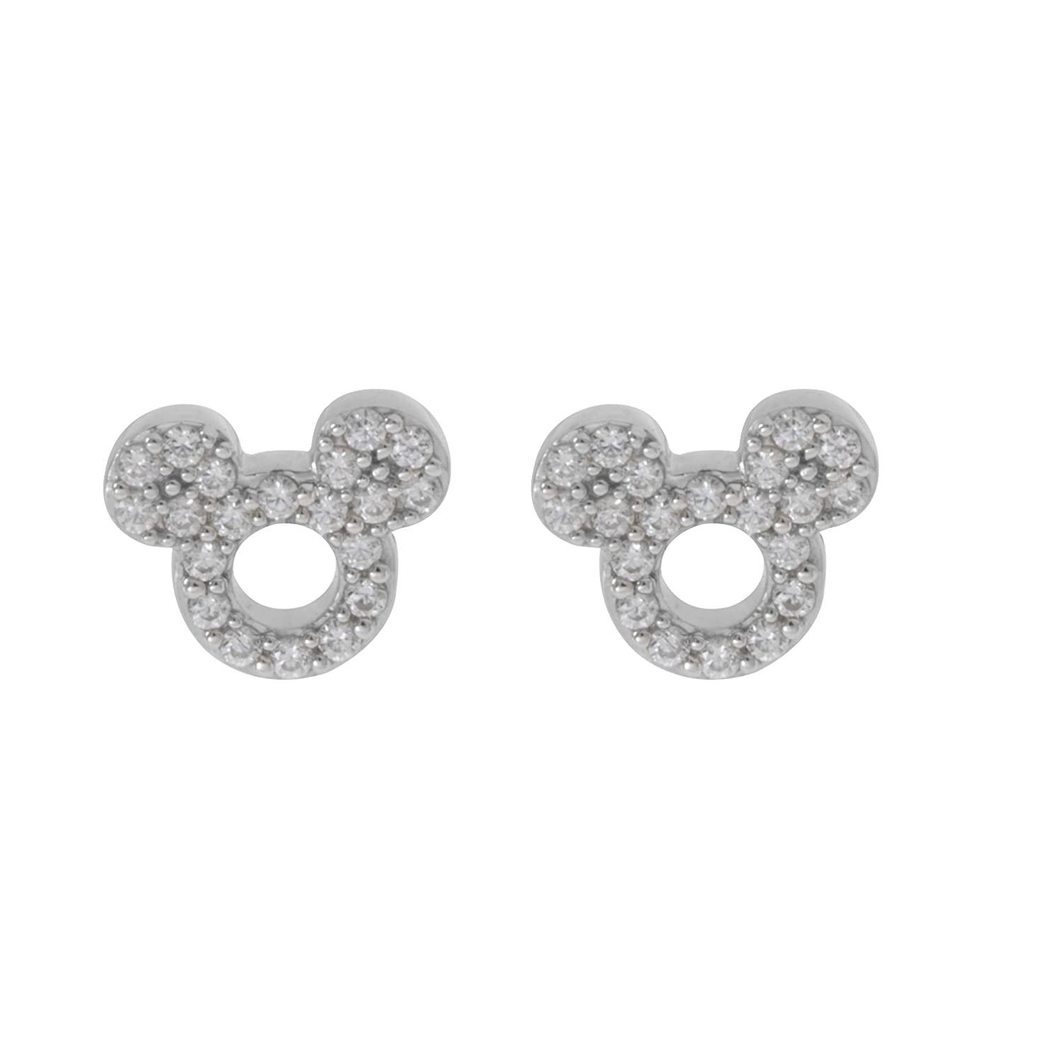 73d803be2 Amazon.com: Disney Mickey Mouse Women Jewelry, Sterling Silver Clear Cubic  Zirconia and Silver Stud Earrings Mickey's 90th Birthday Anniversary:  Jewelry