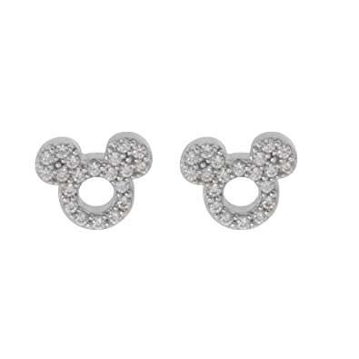 8930a5ff4 Disney Mickey Mouse Women Jewelry, Sterling Silver Clear Cubic Zirconia and Silver  Stud Earrings Mickey's