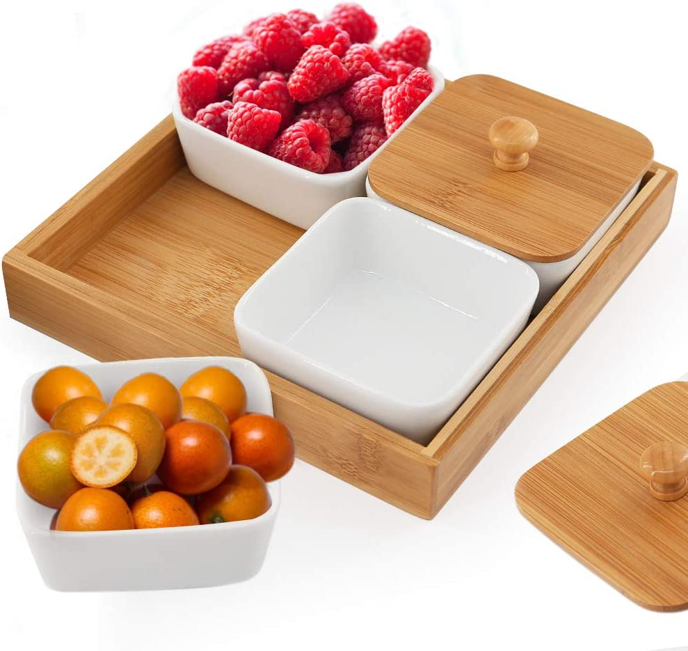 Creamic Snack Serving Tray, 4 Piece with Tray Serving Platter with Bamboo Lids and Pallets Removable Compartment Bowls Moisture-proof Bowls for Snacks,Condiments,Food,Appetizers