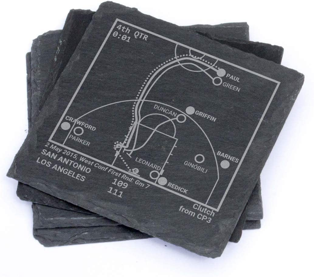 Greatest Clippers Plays Set of 4 Leatherette Coasters