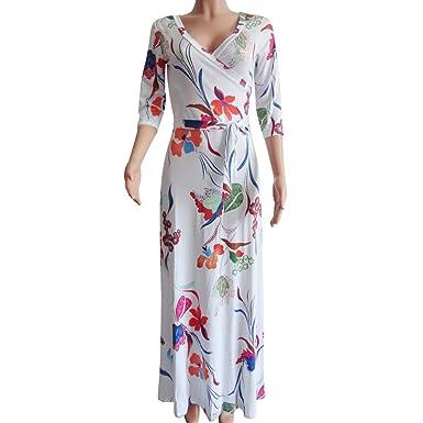 Vestido de Mujer Vestido Casual de Verano Manga de Cinco Puntos ...