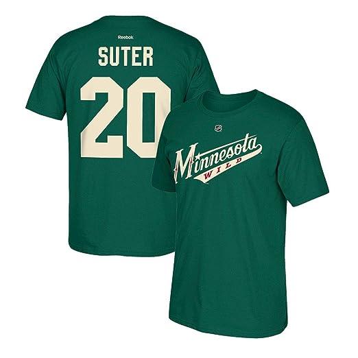 bea3222d5d2 Amazon.com: Reebok Minnesota Wild Ryan Suter #20 Name & Number Green ...