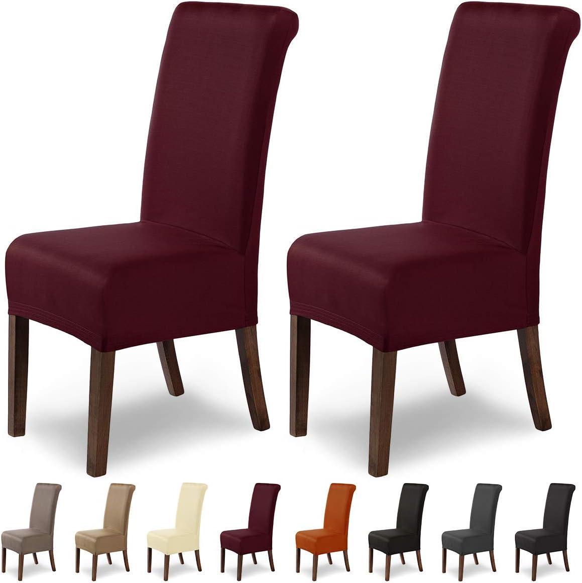 Estirable Cubiertashidr/ófugo Beige SCHEFFLER-Home Marie 2 Fundas de sillas extra/íble Funda con Banda el/ástica
