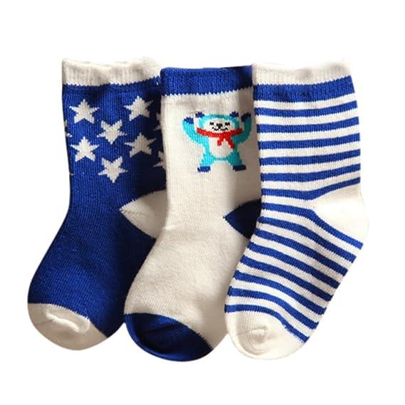 Blaward Calcetines Algodón Bebé Recién Nacido 3 Pares de Antideslizante Socks Para Bebé Niños Niñas 0-3 Años: Amazon.es: Ropa y accesorios