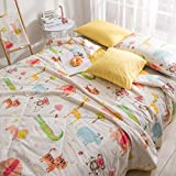J-pinno Jungle Tiger Lion Monkey Elephant Cartoon Quilted Comforter Full for Kids Bedding (Full, 22)