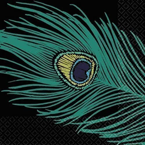 5 x 5 Black amscan Decorative Peacock Plumes Party Beverage Paper Napkins 16 Pack