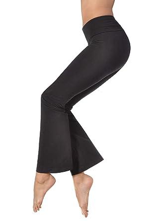 dd83fe972e237 Amazon.com: Hardtail Roll Down Boot Leg Yoga Pants (Black): Clothing