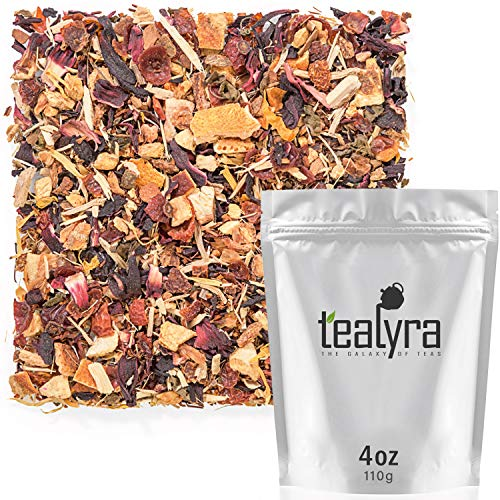- Tealyra - Immunity Booster - Detox - Rooibos - Ginger - Hibiscus - Herbal Loose Leaf Tea Blend - Healthy - Refreshing and Relaxing - All Natural - Caffeine Free - 110g (4-ounce)