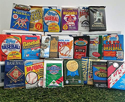 Over 200 Vintage Baseball cards in 20 Vintage Unopened Baseball Wax Packs from various brands from the 80's & 90's. Guaranteed one AUTOGRAPH or MEMORABILIA card per box! Great for 1st time collectors! ()