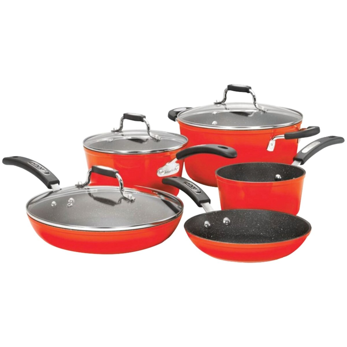 THE ROCK by Starfrit 034612-001-0000 THE ROCK(TM) by Starfrit(R) 8-Piece Cookware Set with Bakelite(R) Handles (Red)