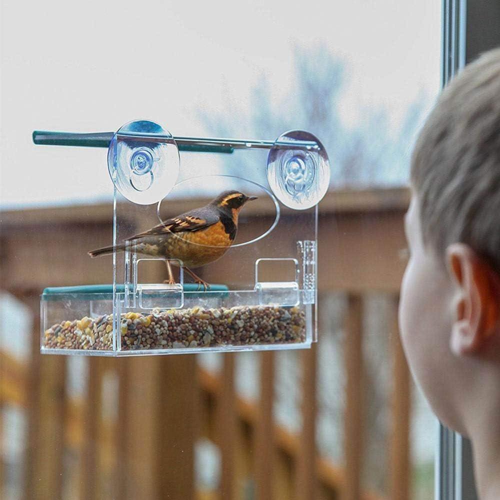 Comederos Para Aves,Ventosas De Cristal Acrílico Estaciones De Alimentación De Jardín,Pearl Parrot Utensilios Recipiente Dispensador De Alimentos Para Mascotas,Balcón Exterior Suministros Accesor