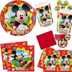 Procos - Juego para fiestas (78 piezas, incluye 10 platos, 10 vasos y 20 servilletas, 6 pajitas, 6 invitaciones, 1 mantel, 25 globos), diseño de Mickey Mouse