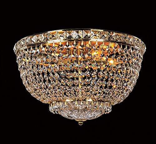 - Lighting Paradise ILF1003/3L Gold 3 Light Crystal Flush Mount