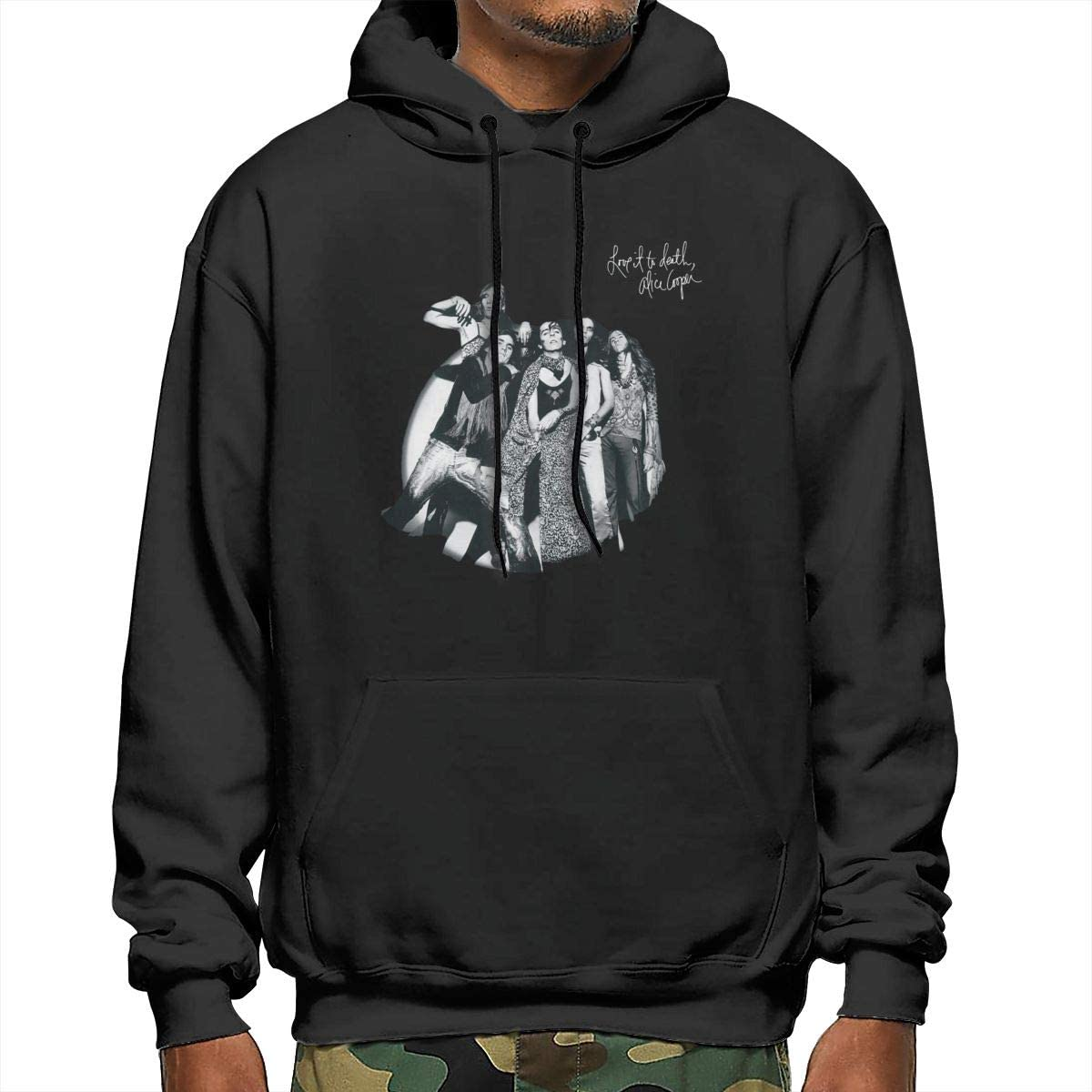 Alice Cooper Love It to Death Mans Fashion Athletic Casual Hoodies Long Sleeves Loose Fit Sweatshirt with Kangaroo Pocket