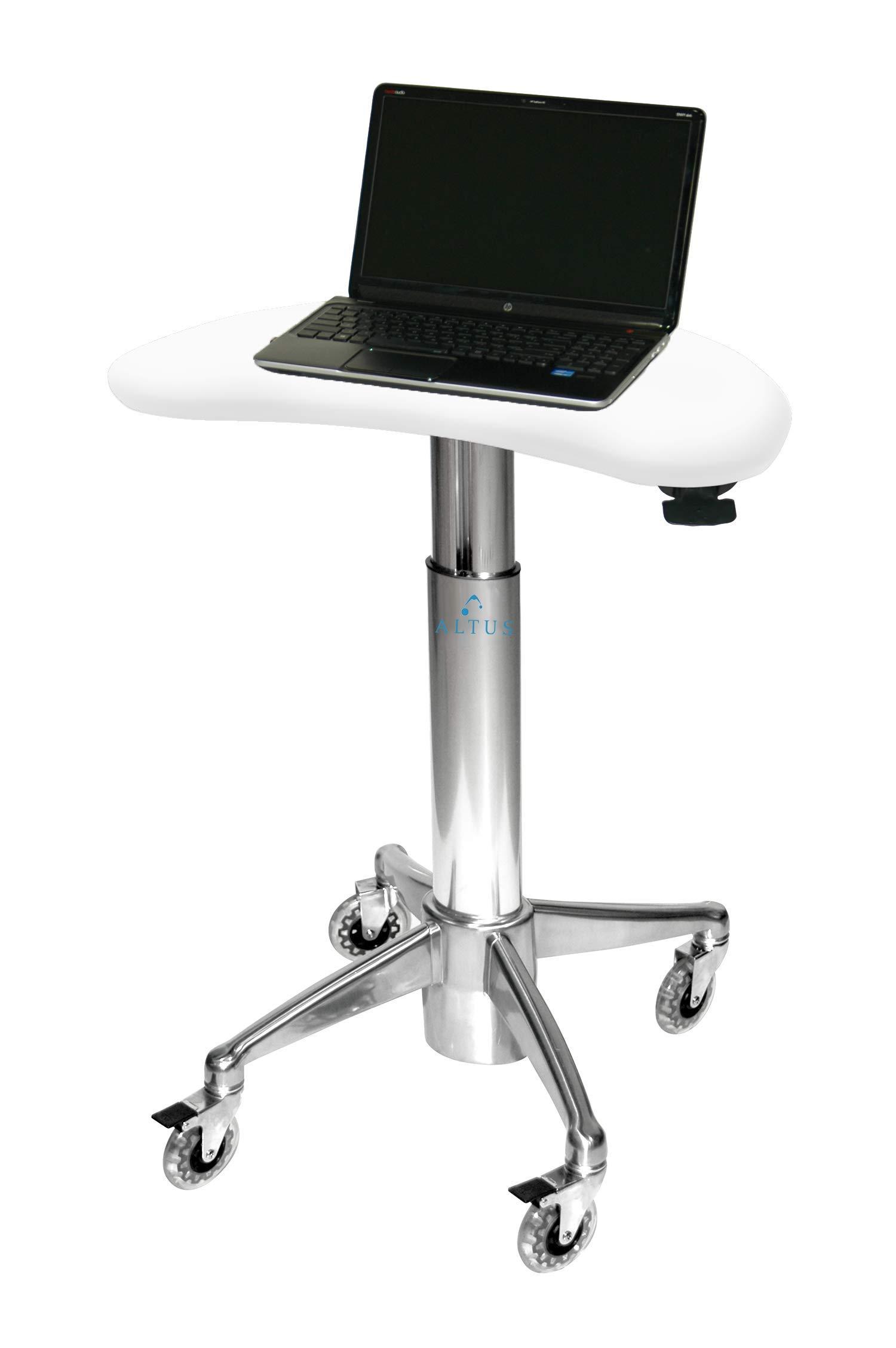Kidney Laptop Cart, Glacier White by Altus Industries, Inc.