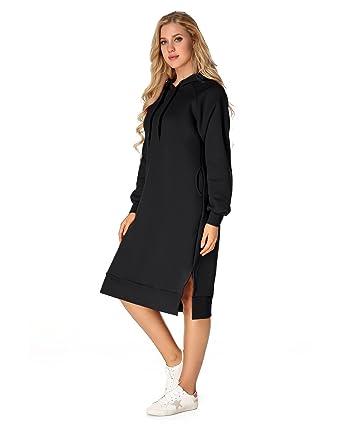ffd368a1abd ZANZEA Women s Long Hooded String Hoodie Pullover Drawstring Warm Long  Sleeve Pockets Casual Sweatshirt Black 0