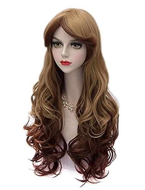 falamka largo rizado peluca larga de color rosa amarillo y púrpura cosplay de aire (marrón