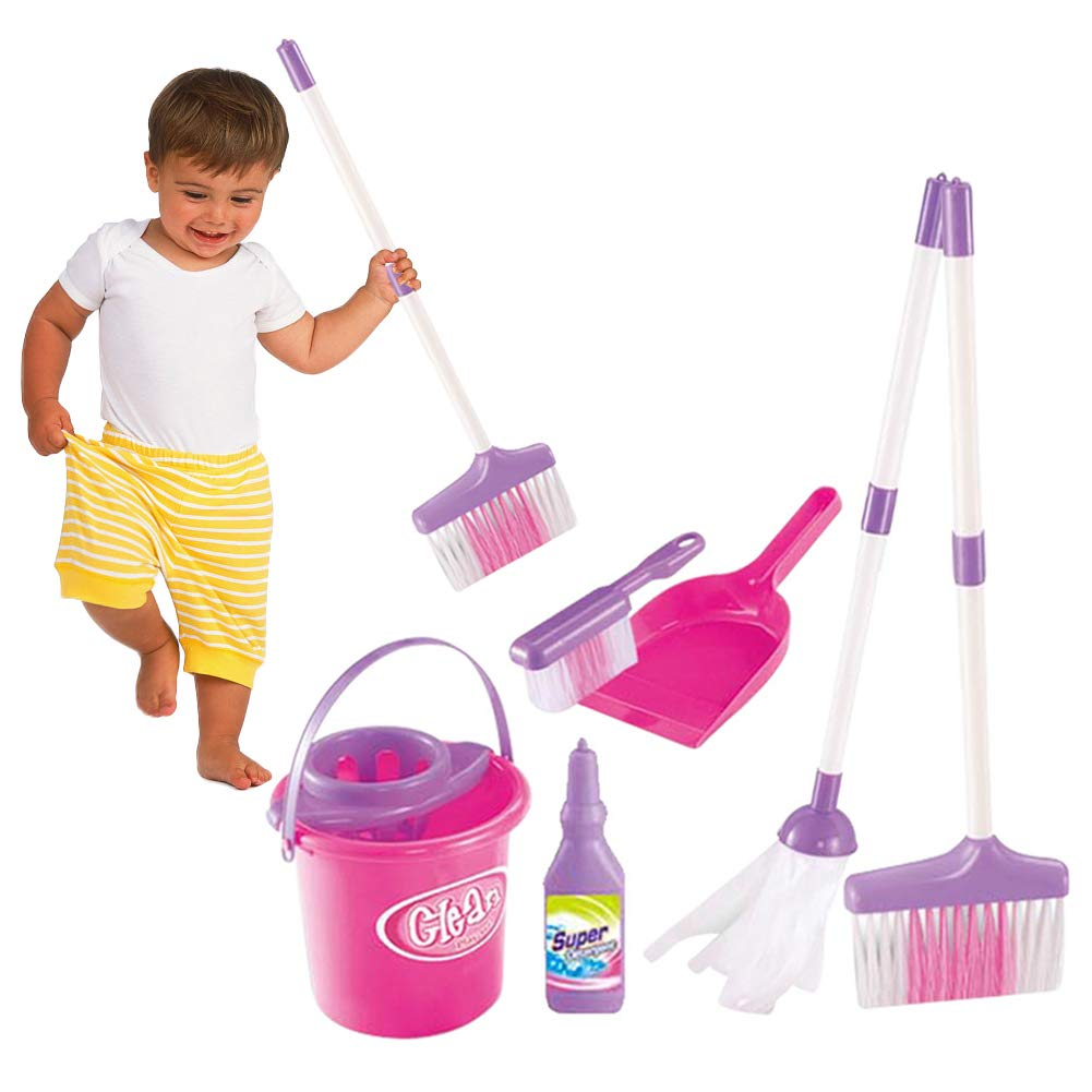 DeerBB Pretend Mopping Bucket Toy Simulation Mini Cleaning Tool Playhouse Broom Mopping Bucket Toy Set for Children Trash Bins Tools