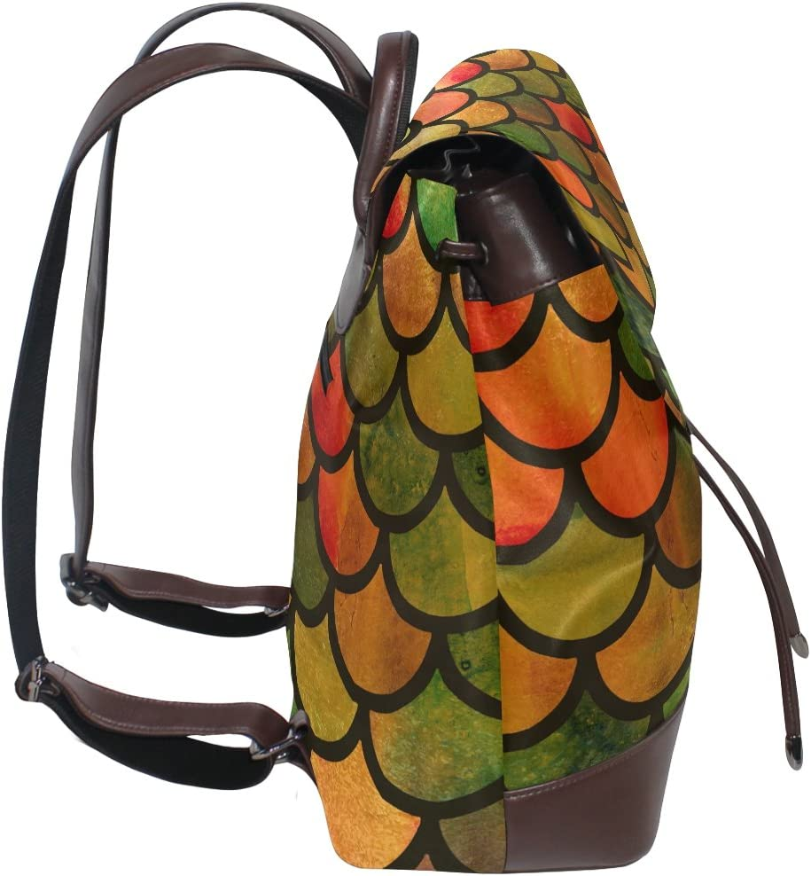 KUWT Colorful Mermaid Scales PU Leather Backpack Photo Custom Shoulder Bag School College Book Bag Rucksack Casual Daypacks Diaper Bag for Women and Girl