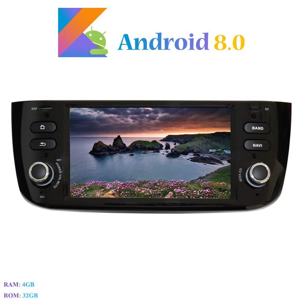 Android 8.0 Car Autoradio Autoradio Hi-azul In-Dash 1 Din 6,2 Zoll 8-Core 64Bit RAM 4G ROM 32G Car Radio Autonavigation Kopfeinheit Car Audio f/ür FIAT Grande Punto//FIAT Linea