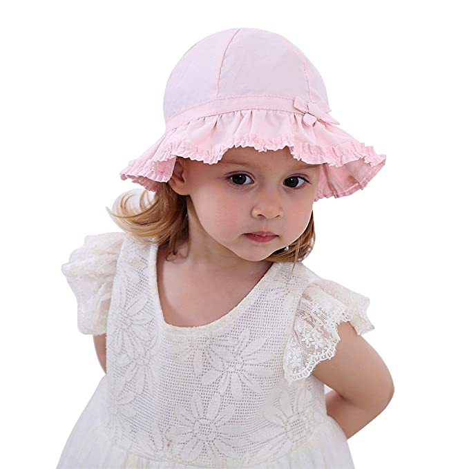 3e55676b0c8b1 Infant Toddler Baby Girl Breathable Sun Hat Double Ruffle Cotton Summer  Bucket Hat50+ SPF Protective 0
