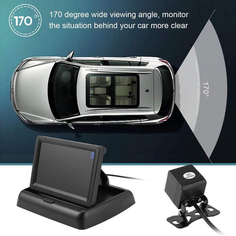 cam/éra de recul /à 4 LED HD syst/ème de stationnement de Secours pour Voiture /étanche 12V Jpstyle Kit dassistance de recul de Voiture avec Moniteur Repliable