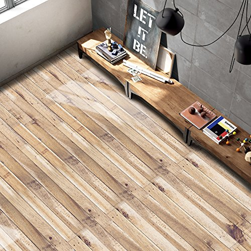 Cheap  Ehonestbuy 3D Wood Grain Flooring Stickers Easy Removable Peel and Stick Murals..