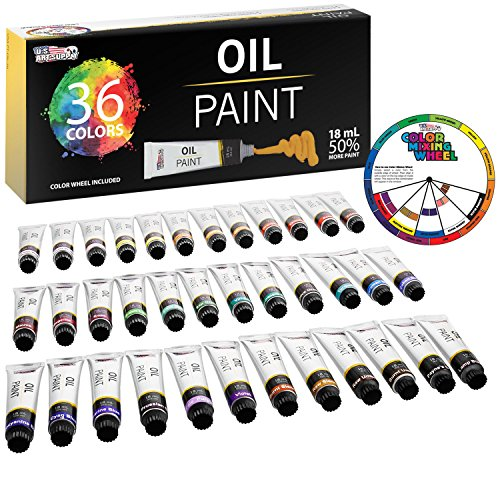 U.S. Art Supply Professional 36 Color Set of Art Oil Paint in Large 18ml Tubes - Rich Vivid Colors for Artists, Students, Beginners - Canvas Portrait Paintings - Bonus Color -
